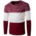 2016 suéter de Los Hombres Blend Invierno Otoño O-cuello de Manga Larga Jerseys Prendas de Punto Caliente Suave Más El Tamaño