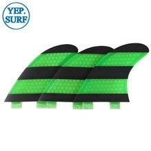 prancha quilhas de Surf FCS Fin G5/G7 Size Honeycomb Green White Fins Carbon fiber Fibreglass Surfboard Fin FCS Tri Set
