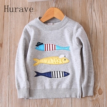 Hurave Baby Girls Sweaters 2017 New Arriavl Autumn Kids clothing Fish Print Winter Long Sleeve clothes C19L4