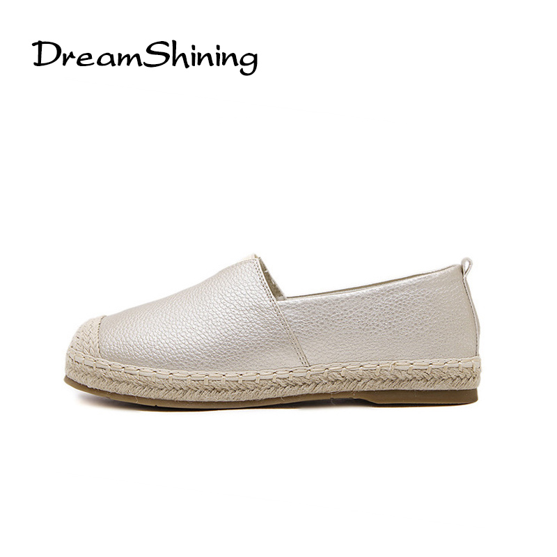 цены  DreamShining Glitter Loafers Summer Slip On Flats Fisherman Shoes Woman Casual Spring Women Flat Shoes Plus Size 34-43
