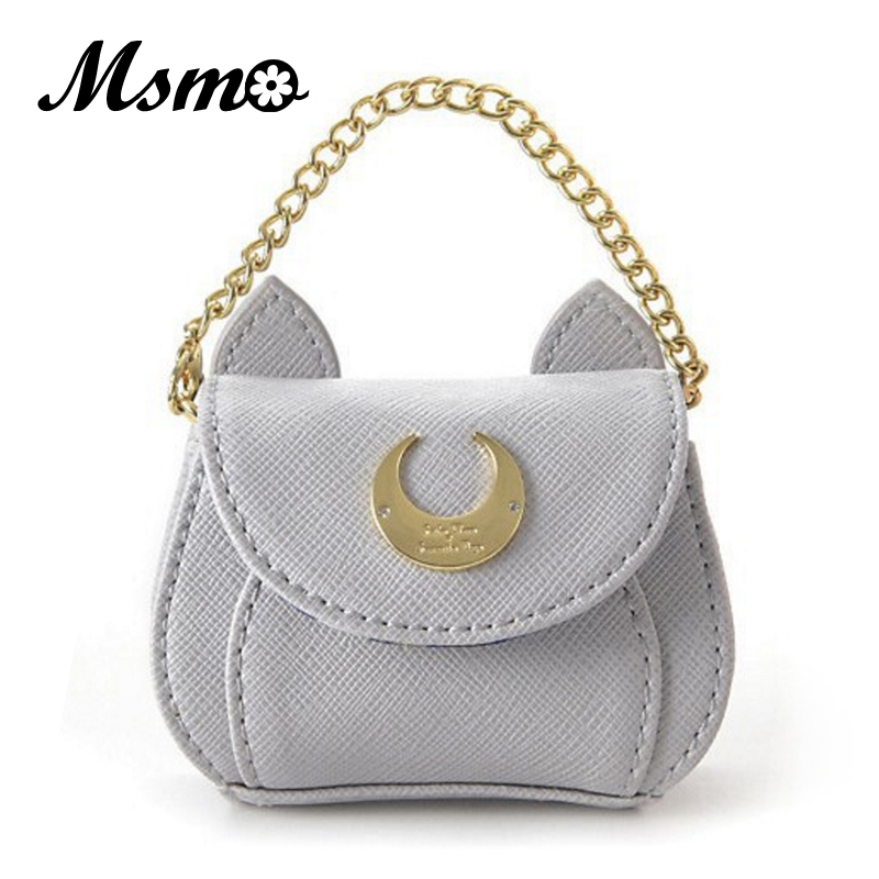 MSMO 2017 New Cute Women Mini Coin Purses Samantha Vega Wallet Sailor Moon Luna Cat Small Bag Love Pendant Free Shipping appella 688 5001