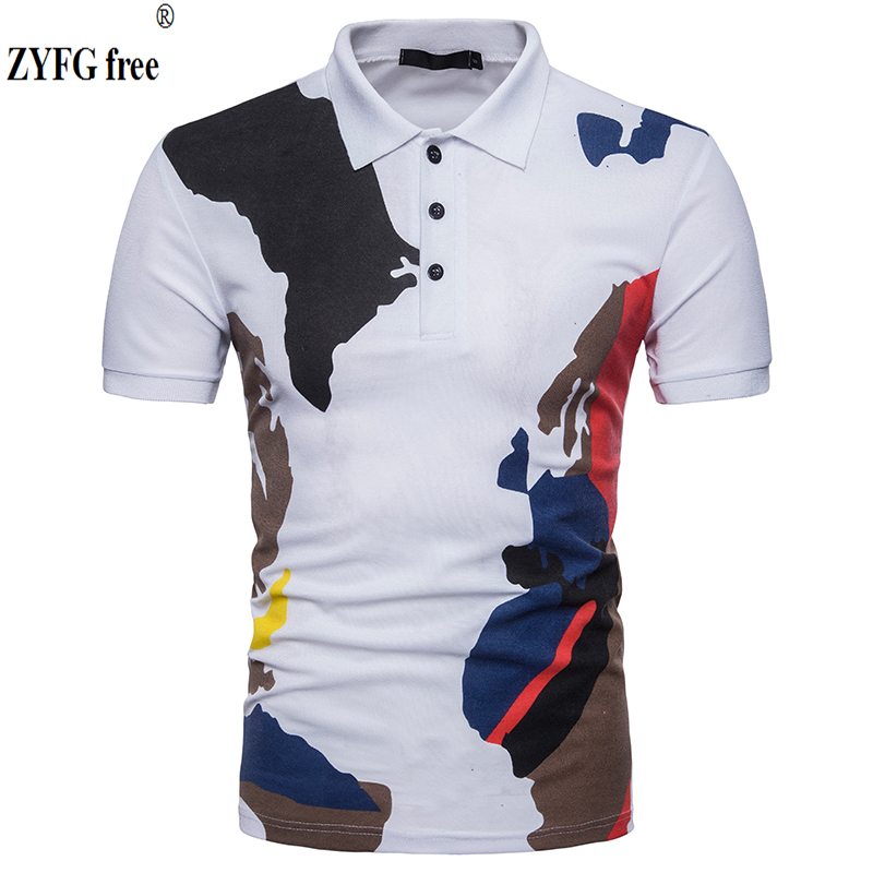 Male Casual Tops   polo   shirt fashion brand 2018 New summer Short Sleeve Colourful printing color   POLO   shirt dress men EU/US size