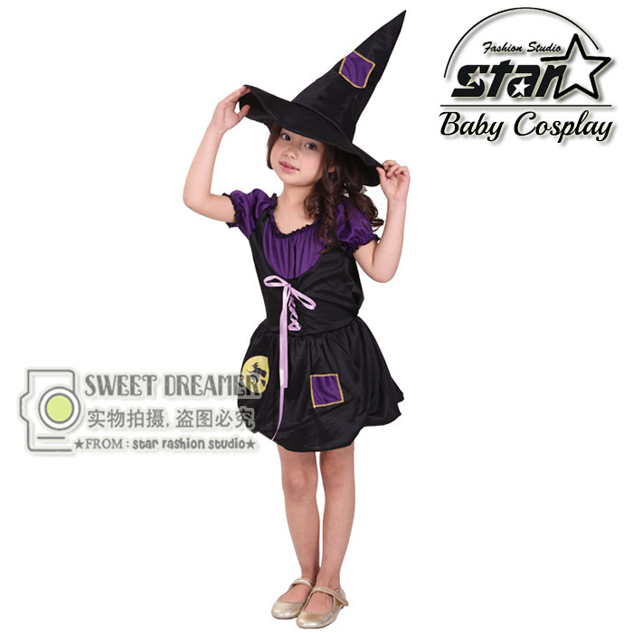 4-12T Girls Witch Black PurpleTutu Dresses With Hat 2016 Halloween Costumes Cosplay Anime Role Play Sorceress Dress Suits