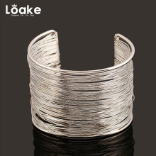 Loake Openning Wire Bangle Silver Color And Gold Color Cuff Bangle for Women Accessories Trendy Jewelry