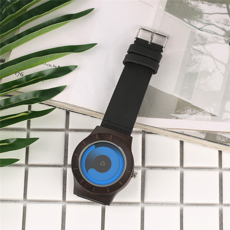 Casual Men Women Wooden Watch Novel Vortex Non-pointer Sport Bamboo Wristwatch Geek Concept Young People Wood Clock Cool Gifts 3