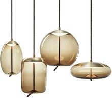 ポストモダンledダイニングルームペンダントライト寝室ぶら下げ照明ロフトデコ器具レストランガラスがランプ
