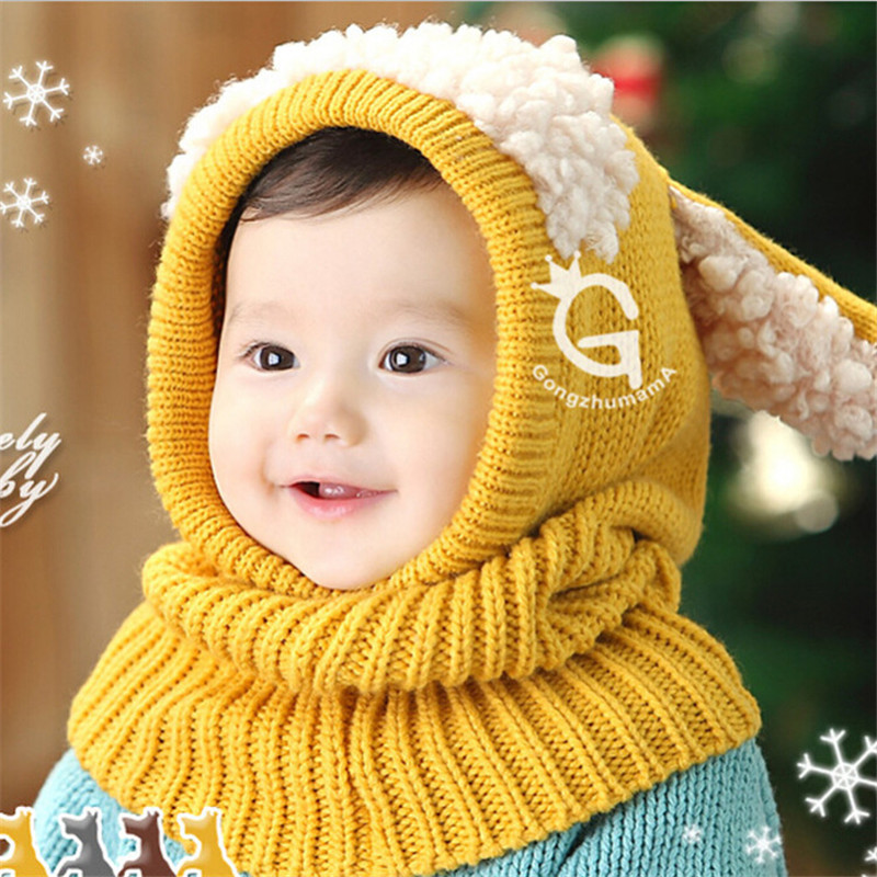 Korea Fashion   Winter Hooded shawlhoodShawl cap For Baby 3D Shaped Warm Earcuff Knitted Hats Kids Baby