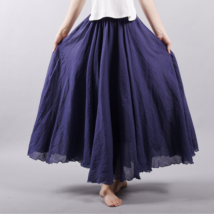 Sherhure 19 Women Linen Cotton Long Skirts Elastic Waist Pleated Maxi Skirts Beach Boho Vintage Summer Skirts Faldas Saia 32