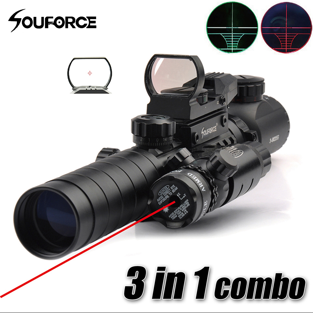 3-9X32EG Riflescope with Long Range Red Dot Laser and Red/Green Dot Holographic Reflex Sight 3 in 1 Combo for Rifle and Airsoft element ex276 peq15 battery case military high precision red dot laser integrated with led flashlight red laser and ir lens