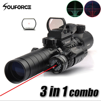 3 9X32EG Riflescope with Long Range Red Dot Laser and Red/Green Dot Holographic Reflex Sight 3 in 1 Combo for Rifle and Airsoft
