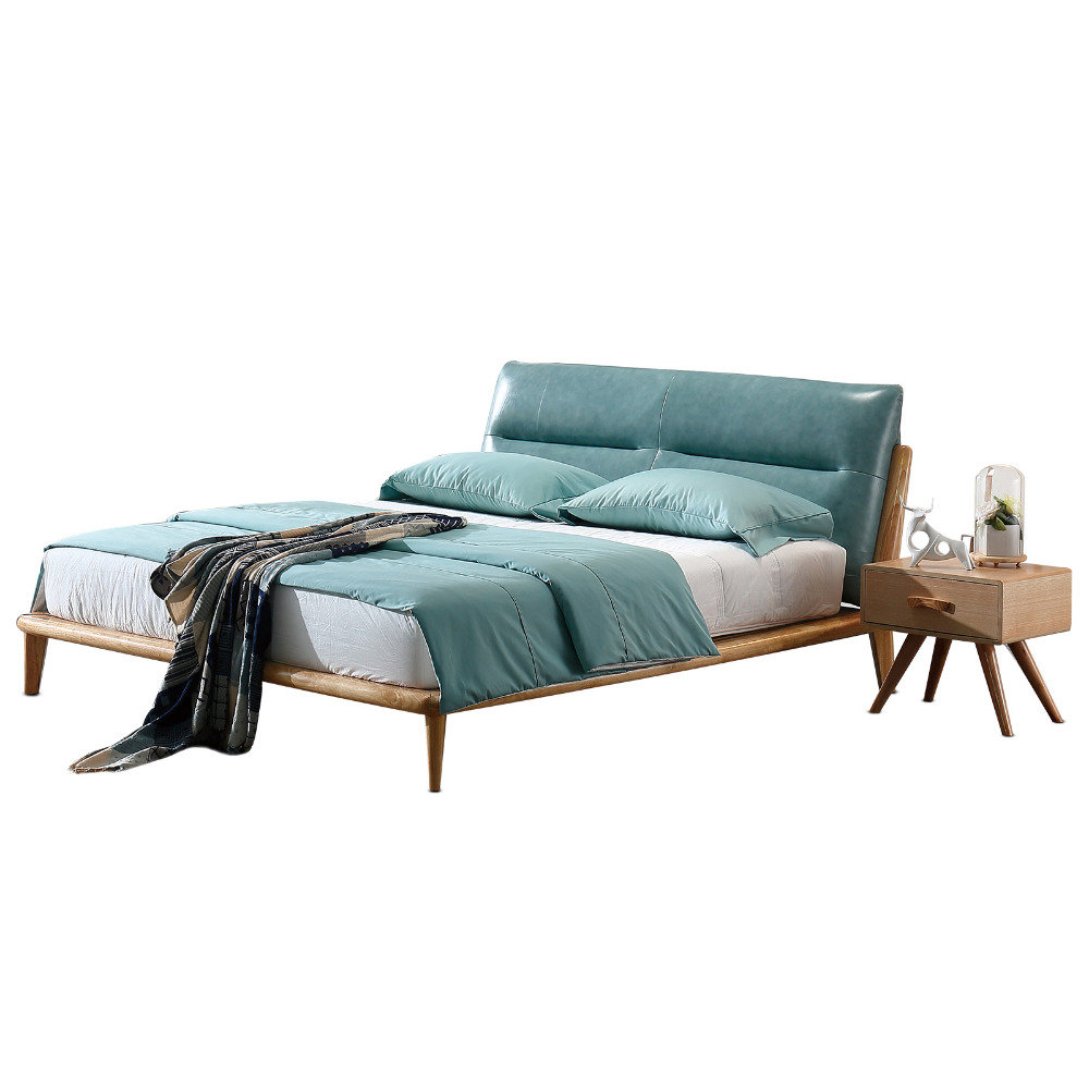 1212H303A Modern Simple Asho solid wood with stable ranked skeleton soft bed-rest large bed frame