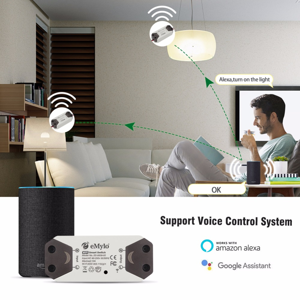 2018 New 1CH eMoly Wifi Switch Relay Module AC90V 250V 220V Wireless Light Relay Breaker Timer Switch For Smart Home Automation in Switches from Lights Lighting