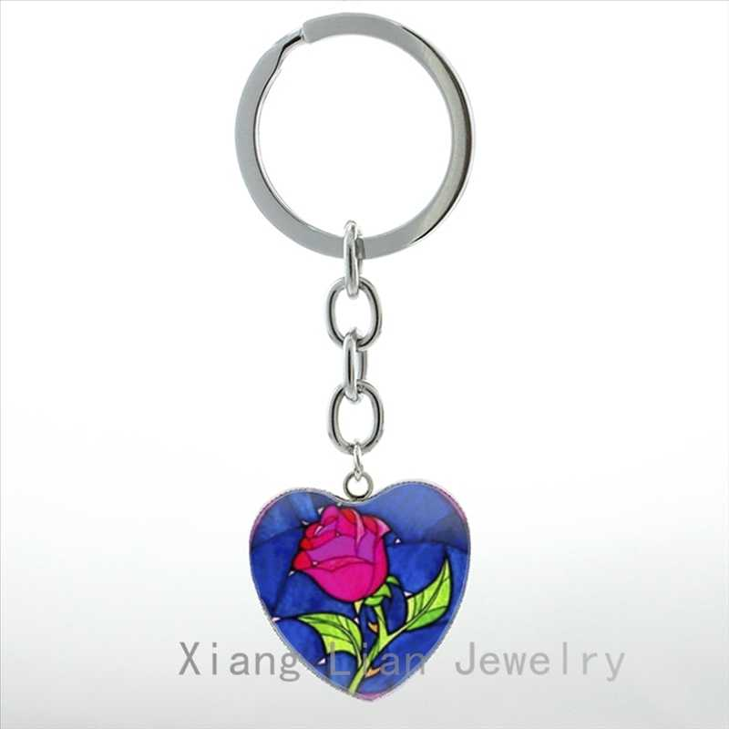 af19d5fce1 Romantic keychain beautiful charm Rose heart pendant key chain ring Tree of  Life Valentine's Day gift