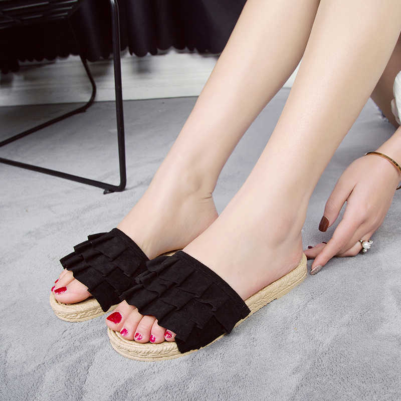 HEE GRAND 2019 New Summer Flat Slides Women Platform Slippers Pleated Slip On Hemp Outside Creepers Ladies Daily Shoes XWT1622