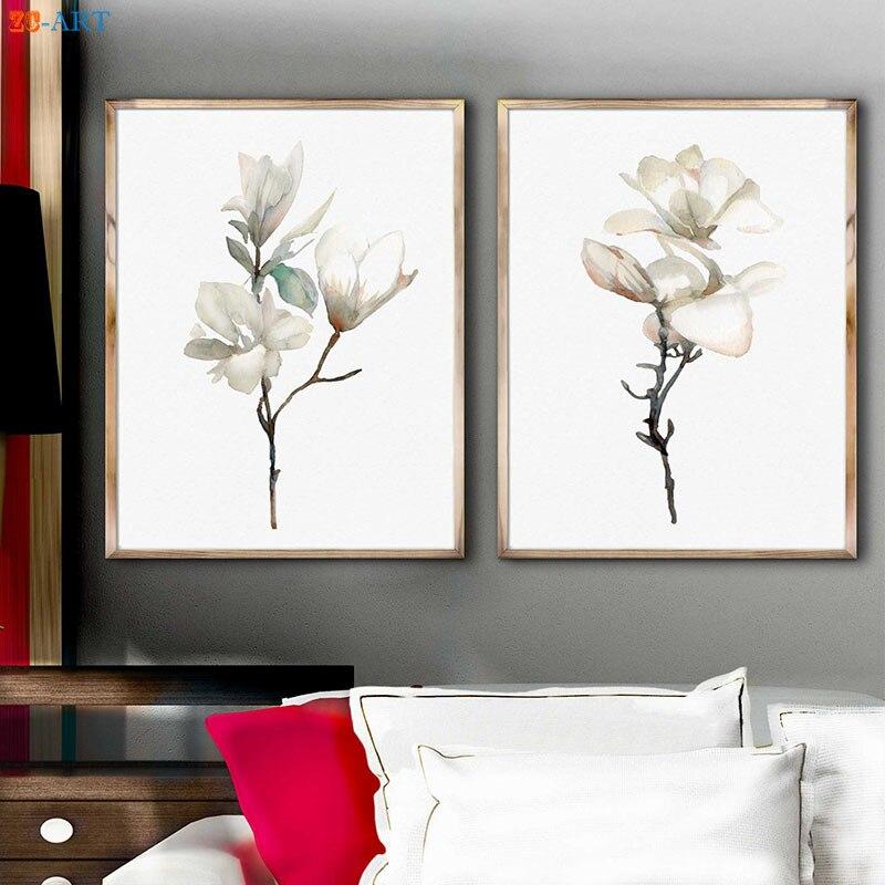 Nordic Watercolor Floral Art Print Magnolia Minimalist Canvas ...
