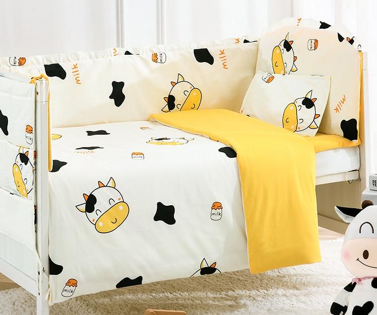 Promotion! 6/9PCS Cute Cow Baby Bedding Set Newborn Infant Cartoon Crib Bedding Detachable Baby Blanket Whole Set