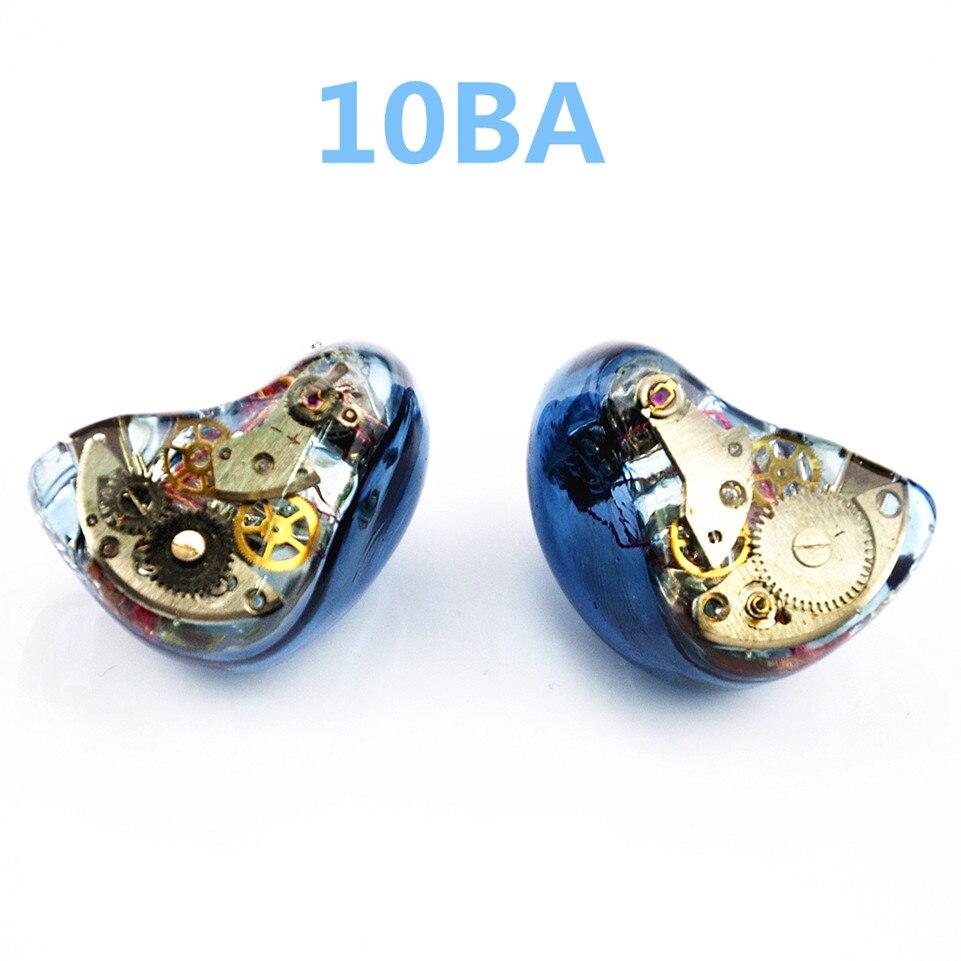 Date Wooeasy 10BA dans l'oreille écouteur bleu Gear fait sur commande hybride autour de l'oreille écouteur avec MMCX plaqué écouteur