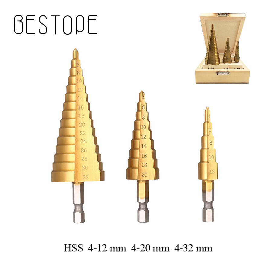 HSS Drill Bit 4-32 mm 4-12mm  4-20mm Titanium Coated Step Drilling Power Tools for Metal High Speed Steel Wood Hole Cutter Step