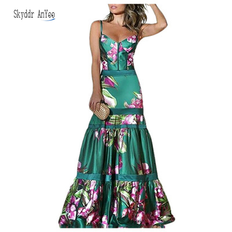 2020 Summer Women Vintage Long Dresses Sexy Backless Print Party Night Dress Pleated Plus Size 3XL V-Neck New Fashion Femme Robe image