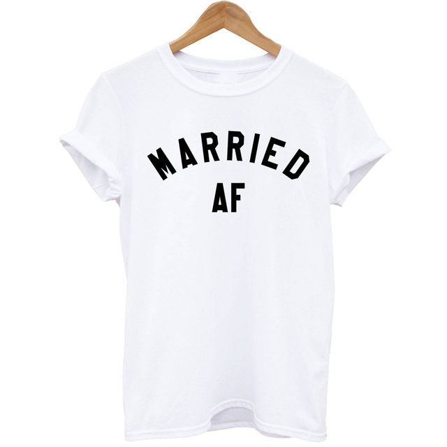 aac39ec49e5f EnjoytheSpirit Women T Shirt Married AF T-Shirt Just Wifey Hubby Marriage  Wedding Top Honeymoon Gift Unisex Tshirt Lady