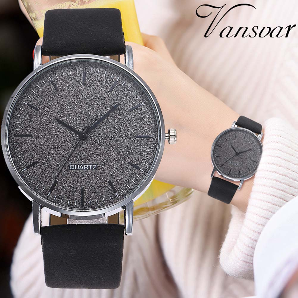 Newly VANSVAR Unisex Men Women Matte Dial Wristwatch Leather Band Quartz Wrist Watch  FDM