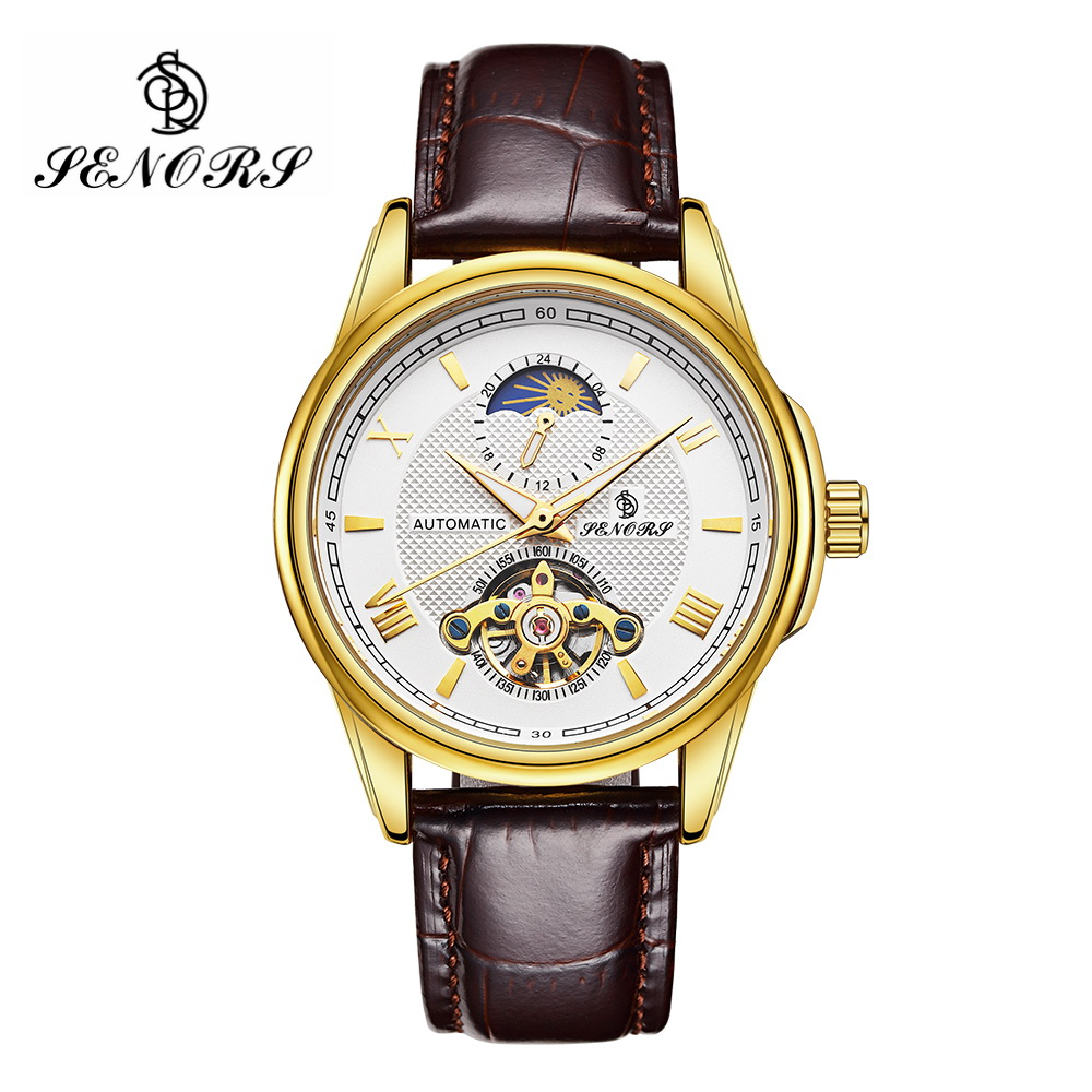 SENORS Business Skeleton Gold Mens Watch Automatic Mechanical Brown Leather Band Moon Phase Clock Male Dress Wristwatch SN021SENORS Business Skeleton Gold Mens Watch Automatic Mechanical Brown Leather Band Moon Phase Clock Male Dress Wristwatch SN021
