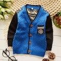 95-115 cm Niños ropa Primavera otoño Inglaterra estilo de color parcheado niño cardigan chaqueta de un solo pecho suéter para niño niños
