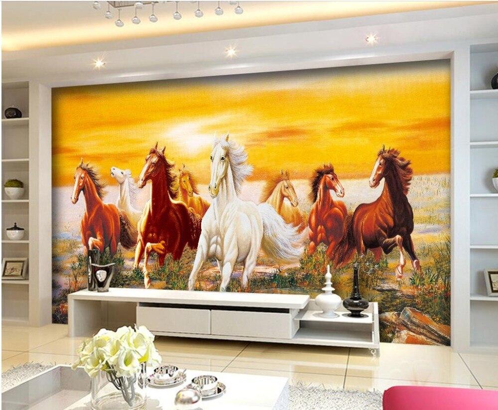 Custom photo 3d room wallpaper Non woven mural Horses running ...