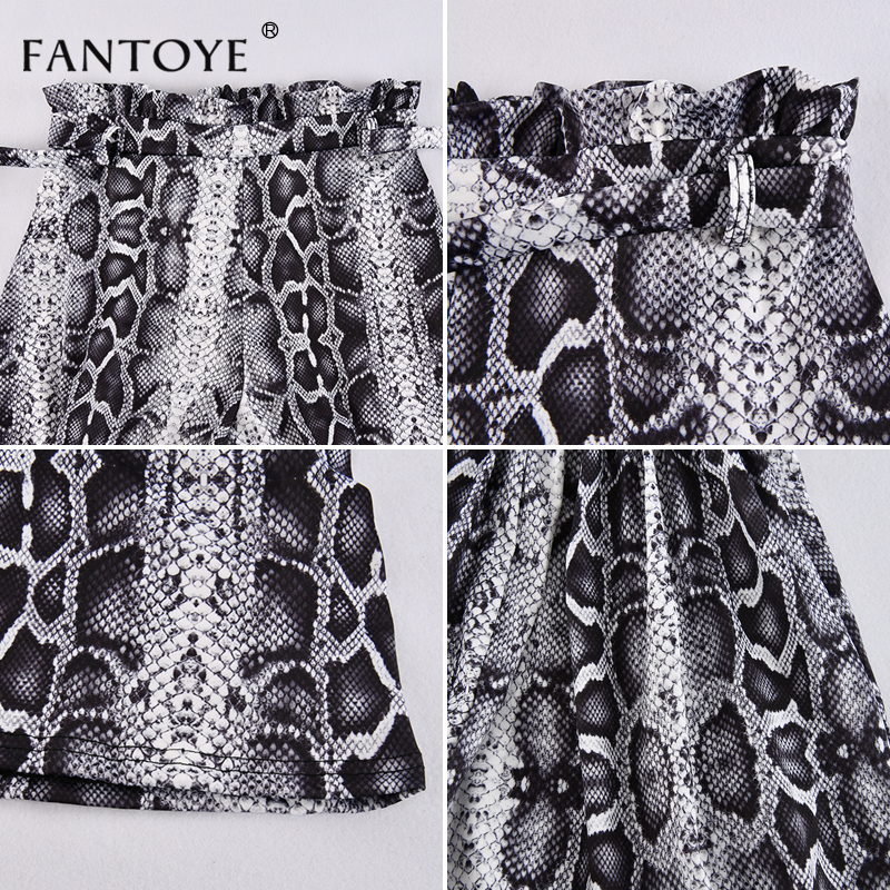 Image 5 - Fantoye Snake Print High Waist Shorts Women 2019 Autumn Paper Bag Sexy Elegant Fashion Lace Up Ruffle Mini Ladies Shorts Skirts-in Shorts from Women's Clothing