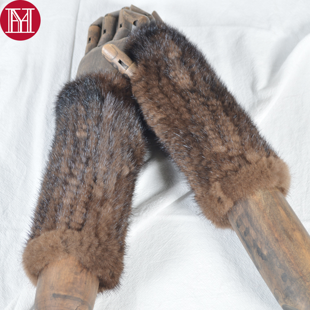 2019 Unisex Real Mink Fur Gloves Handmade Real Knitted Mink Fur Fingerless Gloves Women Men Strong Elastic Real Mink Fur Mittens
