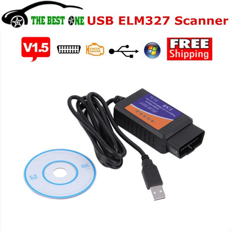 Prix pour Suivi complet En Plastique USB ELM327 V1.5 OBD 2 Diagnostic Scanner Supprt Tous Les Protocoles OBDII ELM 327 USB V1.5a Basé sur PC de Balayage outil