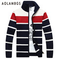 Aolamegs Men Striped Sweater 2016 Famous Brand Cardigans Zipper Sweater Men Colourful Turtleneck Knitted Cardigan Masculino 3XL