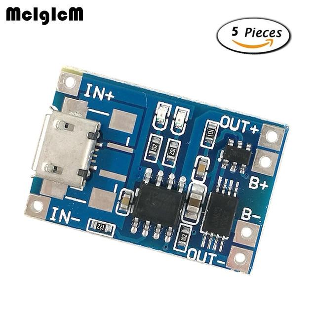 MCIGICM 5 шт Micro USB 5 V 1A 18650 TP4056 литиевых модуль зарядного устройства аккумулятора зарядки доска с защитой двойной функции 1A литий-ионный