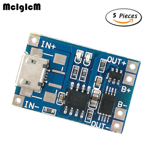 MCIGICM 5pcs Micro USB 5V 1A 18650 TP4056 Lithium Battery Charger Module Charging Board With Protection Dual Functions 1A Li-ion