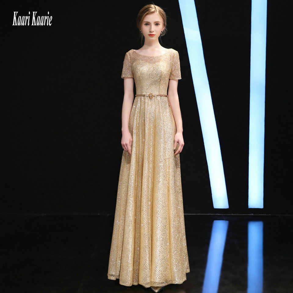 Brilliant Gold Evening Dresses Long 2018 Sexy Silver Evening Gowns Scoop  Short Sleeve Sashes Lace Up 2abf535110a0