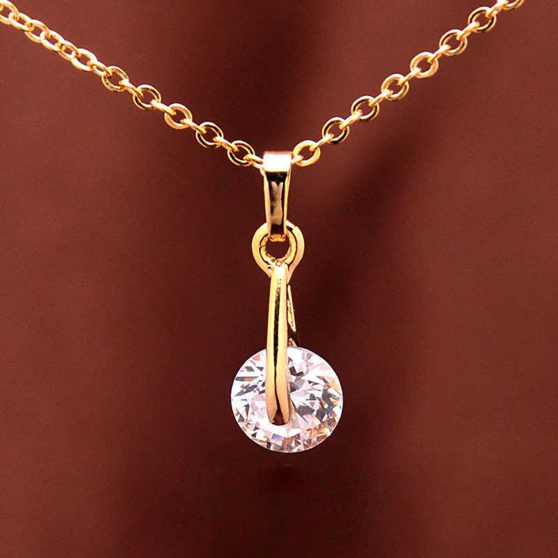 טרנדי CZ סטי תכשיטי קריסטל נשים חג האהבה מתנת יום יום צבע זהב ערכות תכשיטי חרוזים אפריקאים עגילי שרשרת תליון