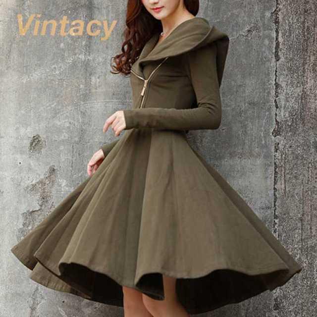 4baab89b7 Vintacy vintage style spring dress a line green long sleeve with cap women  dress 1950s vintage