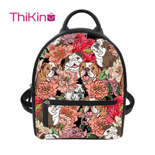 Thikin Women Bulldog Pattern Backpack for Teen Girls Lady Mochila Mini  Leather Schoolbag Student Preppy Style Bag Girl Satchel preppy women s satchel with owl pattern and buckles design