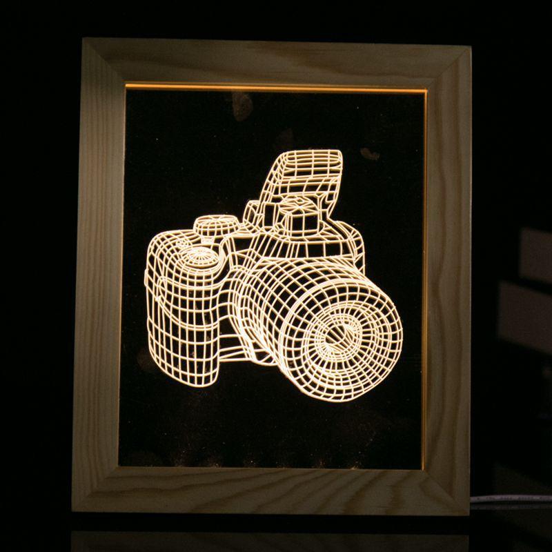 FL-704 3D Photo Frame Illuminative LED Night Light Wooden Heart Desktop Decorative USB Lamp In-Outdoor Fairy Decoration Light