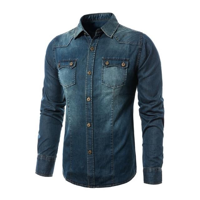 3cfcee6ba91 2017 Autumn Winter Fashion Denim Design Mens Slim Fit Jean Shirt New Mens Denim  Shirt Casual Stylish Blue Veste en Jeans Homme