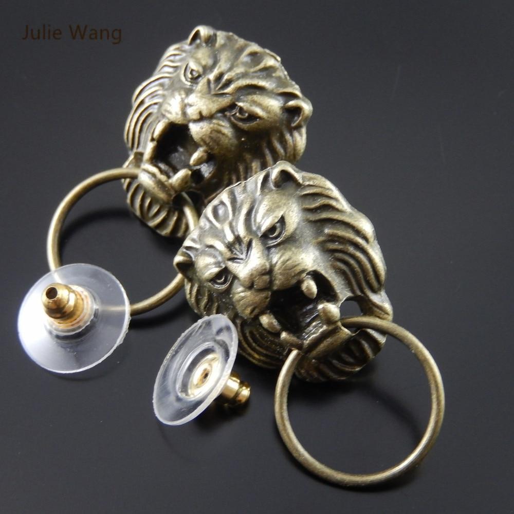 Julie Wang 2/4/6/8PCS Alloy Vintage Bronze Lion Head Shape Earrings With Ear Plugs Men Punk Style Jewelry Decorate Findings