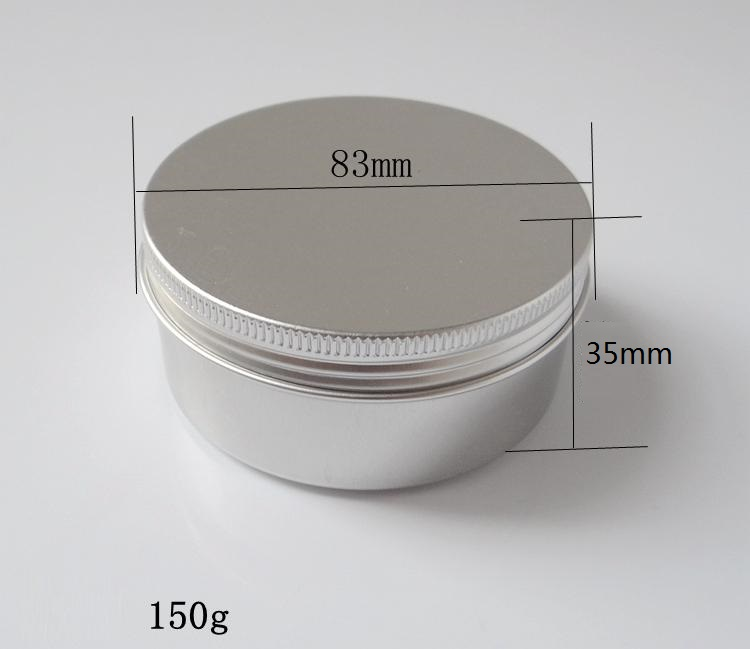 150g 83*35mm refillable empty round aluminum metal tin cans bottle with lids , cosmetic cream container box aluminum jar 150g aluminum jar refillable cosmetic cream bottle empty screw cap containers black pink gold white silver lotion tins