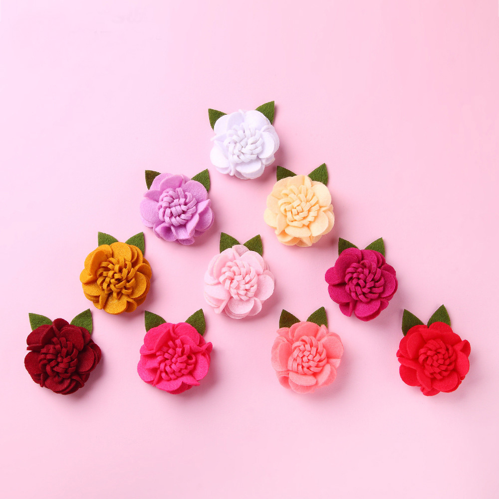 20 Pcs/lot, Mini Felt Flowers, Felt Rose Applique, Fabric Flower With Leaves For Wedding Flower, Crafts, Scrapbooking And More
