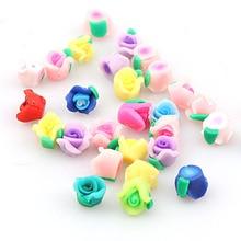 New 10mm 10pcs Mini Kawaii Polymer Clay Rose Flower Chunky Flatback Beads DIY Hair Headband Decoration Jewelry Findings