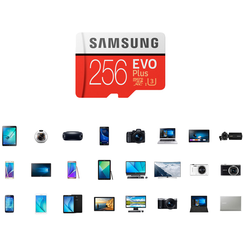 Carte mémoire SAMSUNG Micro SD 256GB 16GB 32GB 64GB 128GB SDHC SDXC Grade EVO Plus U3 EVO classe 10 C10 UHS TF Flash Microsd - 6