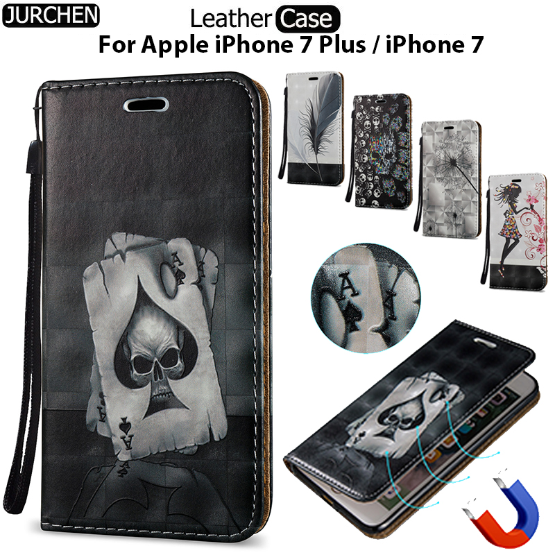 JURCHEN Soft Case For Apple iPhone 7 Plus For iPhone7 iPhone7Plus Case Cartoon Leather Back Cover For iPone 7 Plus Case ihone 33