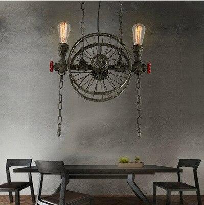 American Country Retro Industrial Black / Iron Wheels Pendant Light Loft Style Wrought Iron Droplight for Restaurant Bar Cafe