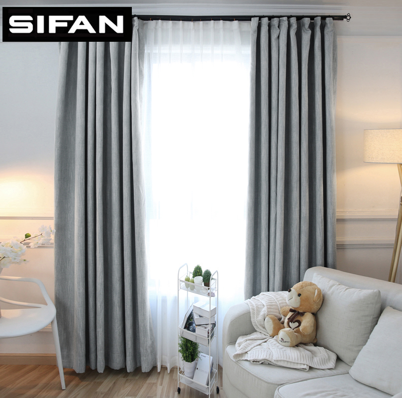 Colorful Living Room Curtains: New American Solid Color Thick Faux Linen Blackout