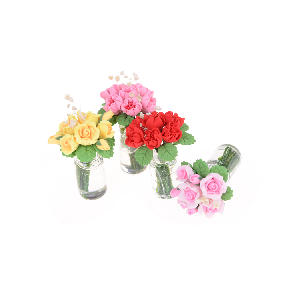 1//12 Dollhouse Miniature Room Decor A Clay Pink Monthly Rose Flower Bunch