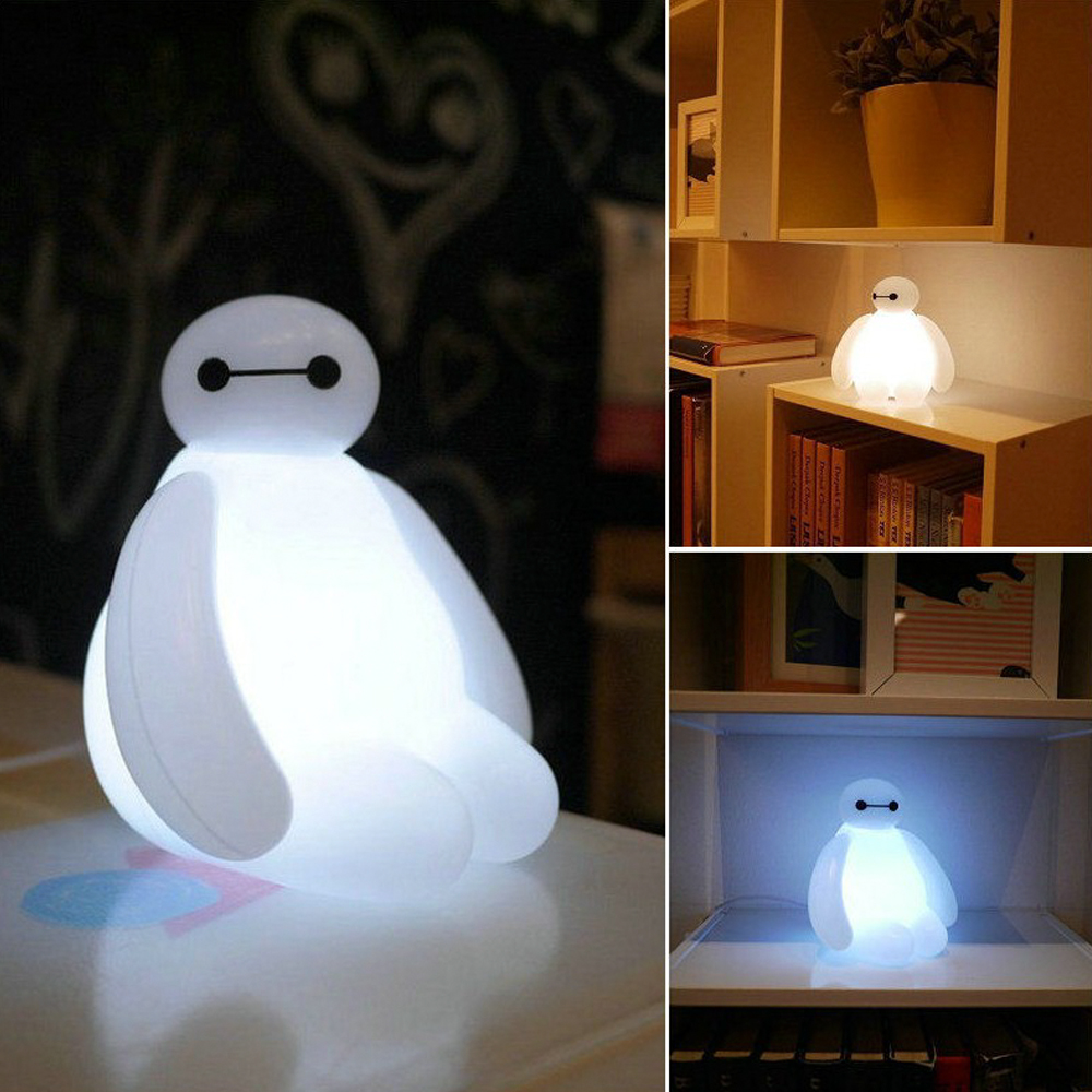 White table lamps bedroom - Big Hero 6 Cartoon Baymax Led Night Light White Cute Table Lamp Bedroom Decoration Amazing Kids